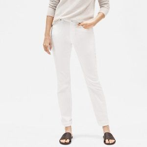 EILEEN FISHER Organic Cotton White Ankle Pants